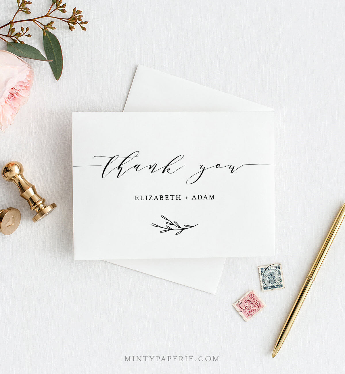 Self-Editing Thank You Template, Folded Thank You Note inside Thank You Note Cards Template