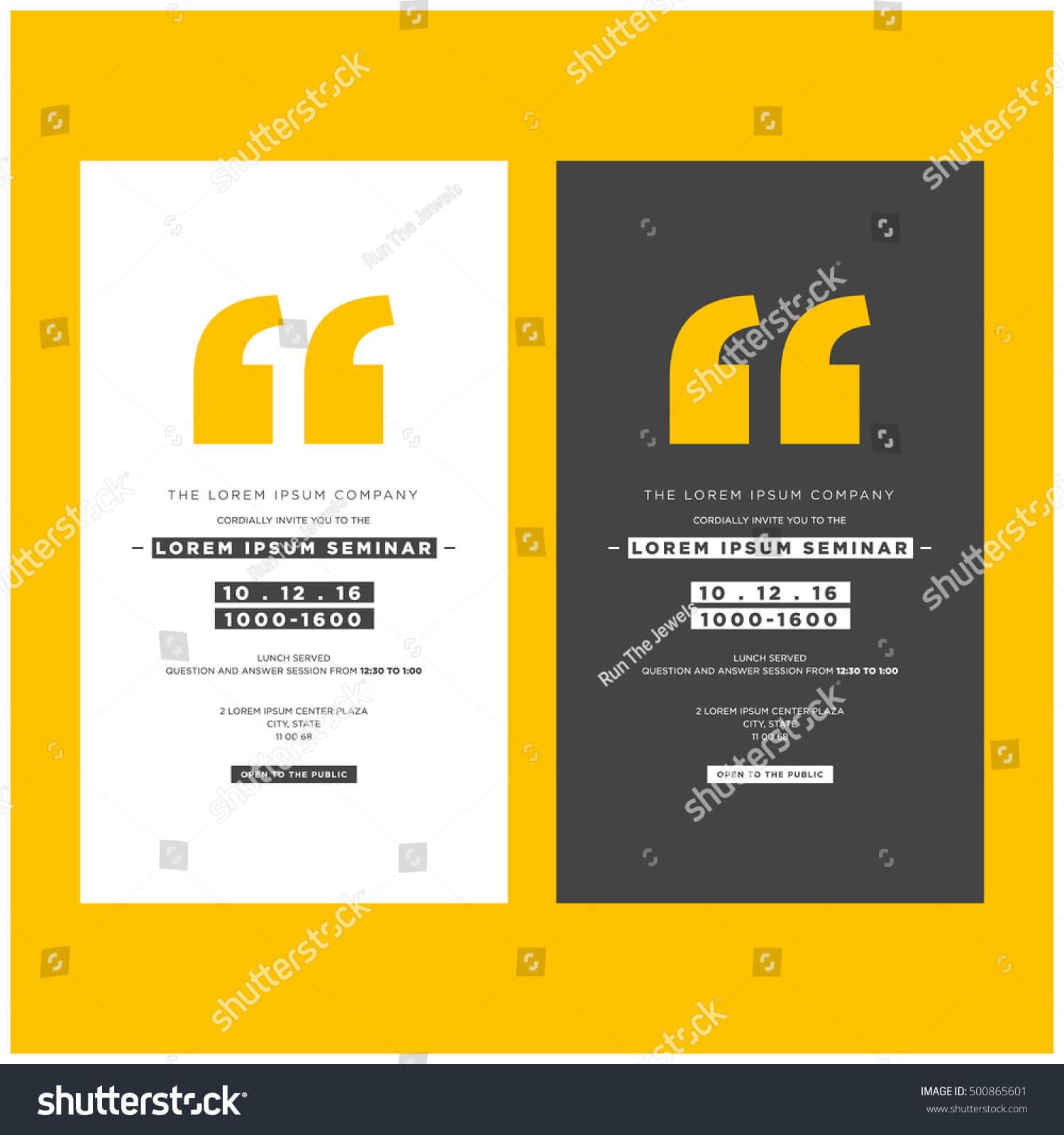 Seminar Invite Template • Invitation Template Ideas In Seminar Invitation Card Template