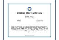 Service Dog Certificate Template Elegant Service Dog with Service Dog Certificate Template