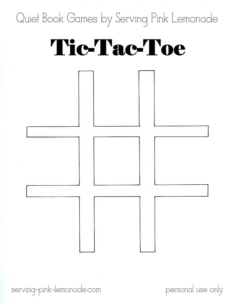 Serving Pink Lemonade: Quiet Book Games Part 3: Tic Tac Toe In Tic Tac Toe Template Word