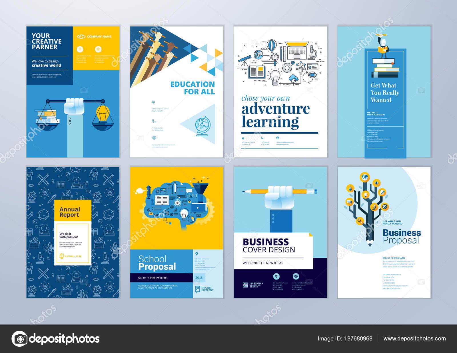 Set Brochure Design Templates Subject Education School Intended For Brochure Design Templates For Education