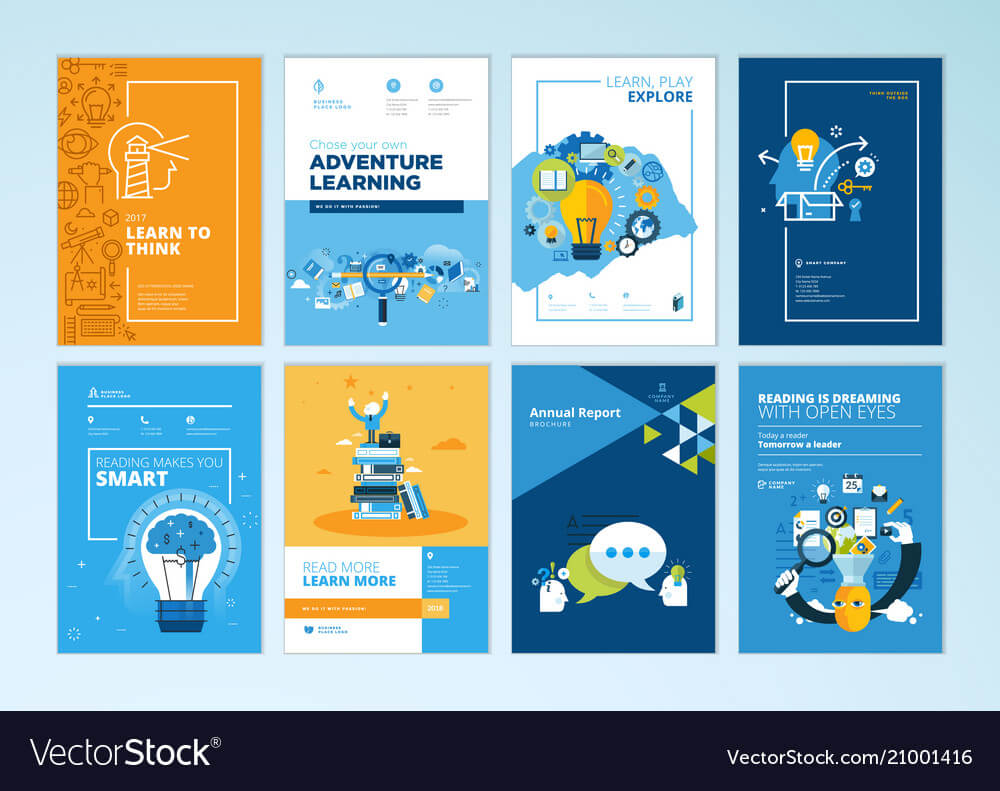 Set Of Brochure Design Templates Of Education With Brochure Design Templates For Education
