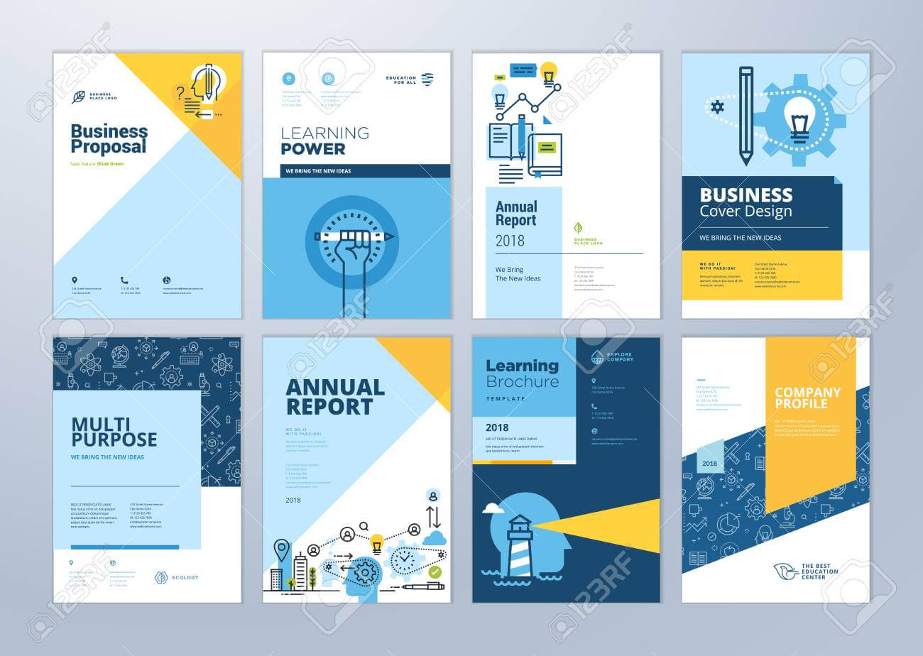Set Of Brochure Design Templates On The Subject Of Education,.. Regarding Brochure Design Templates For Education