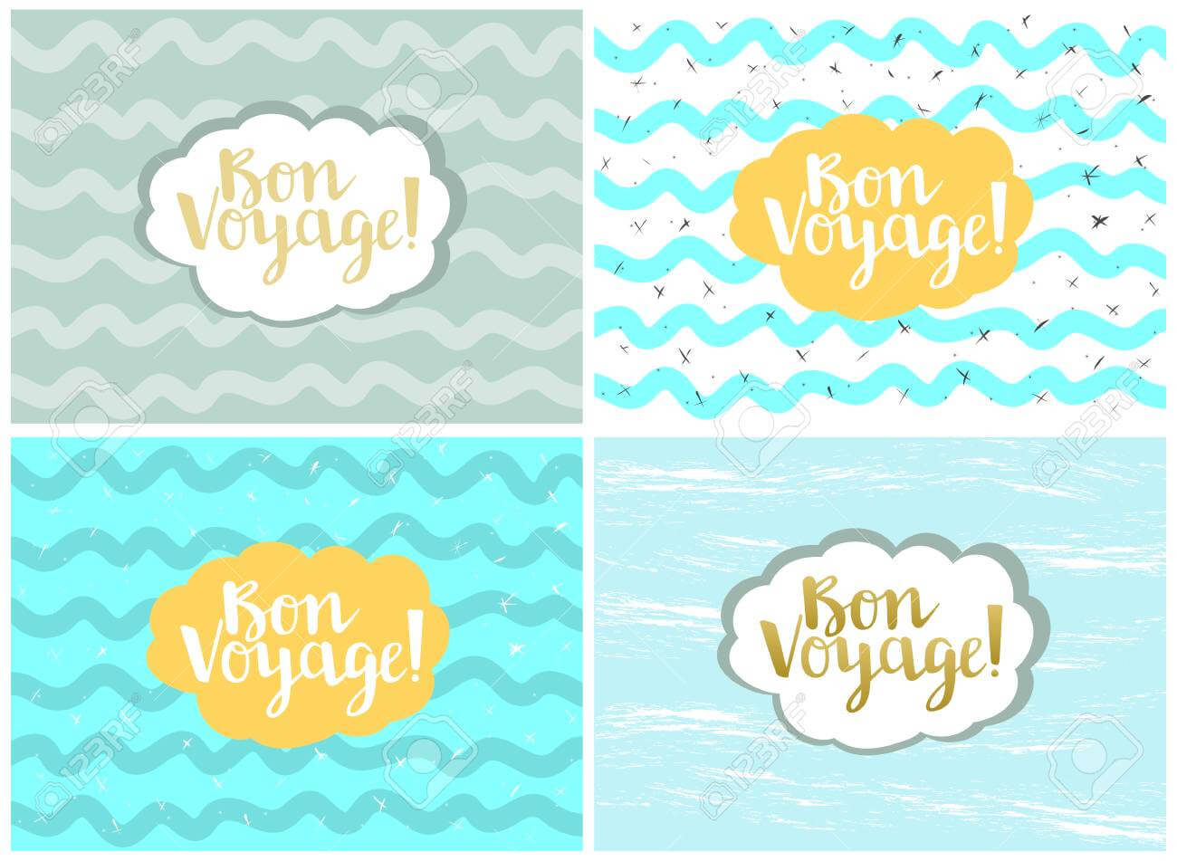 Set Of Four Cards, Vector Templates. Bon Voyage. Regarding Bon Voyage Card Template