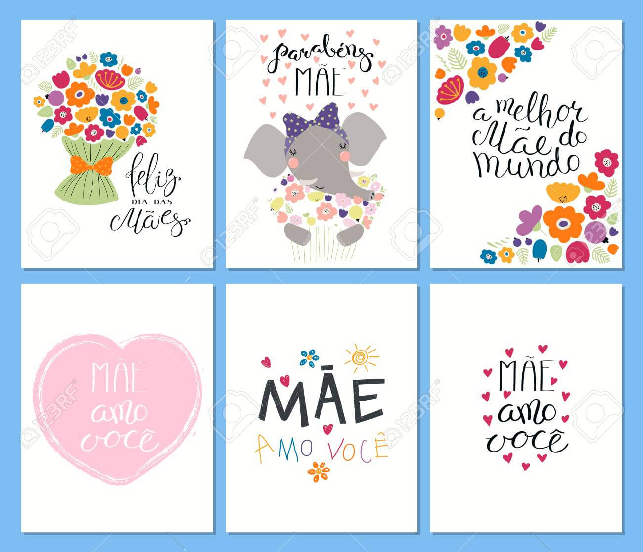 Set Of Mother's Day Cards Templates With Quotes In Portuguese intended for Mothers Day Card Templates