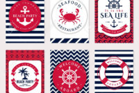 Set Of Nautical And Marine Banners And Flyers. Elegant Card Templates.. inside Nautical Banner Template