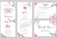 Set Of Wedding Invitation Card Templates With Watercolor Rose.. regarding Save The Date Cards Templates