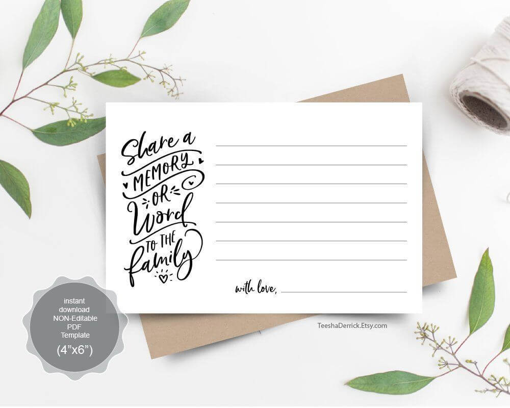 Share A Memory Card, Instant Download Printable Pdf Template Within In Memory Cards Templates