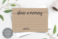 Share A Memory Card Template, Funeral Memory Card, Instant pertaining to In Memory Cards Templates