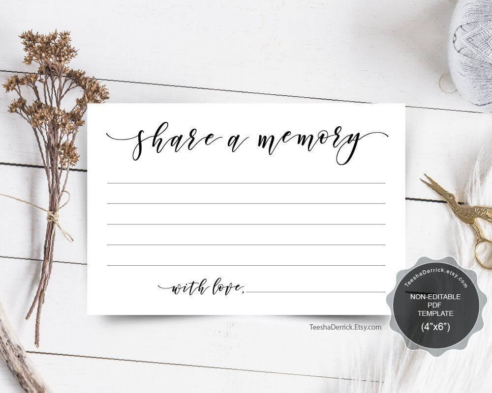 Share A Memory Card Template, Funeral Memory Card, Instant Regarding In Memory Cards Templates