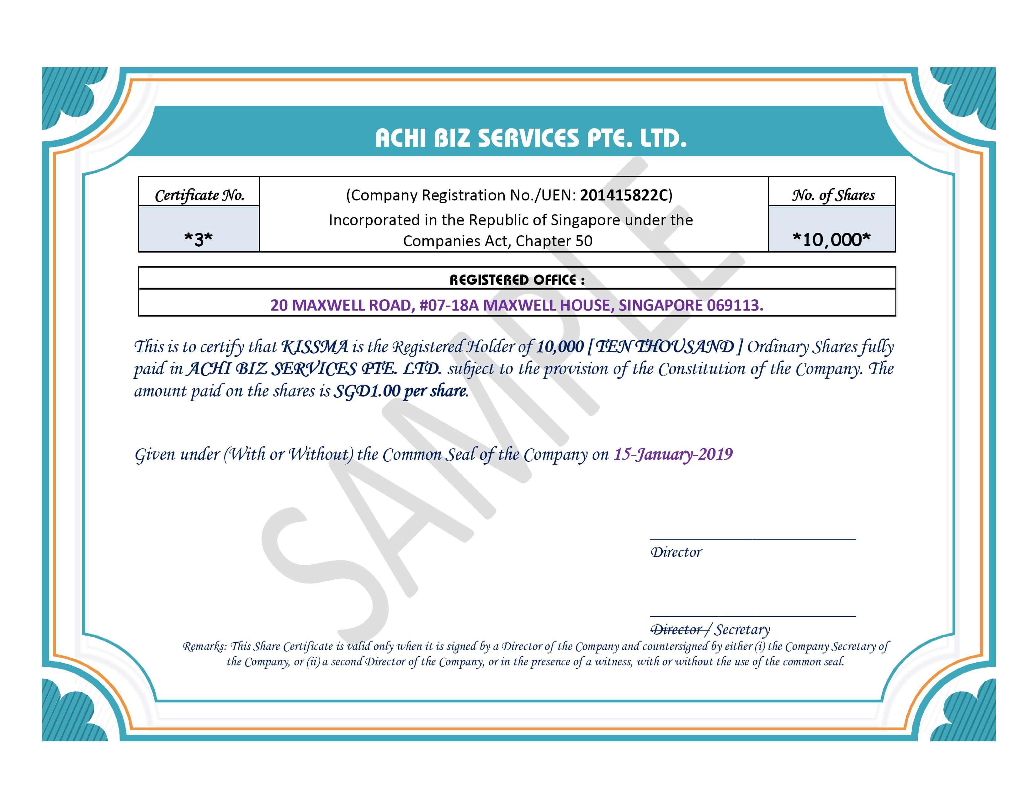 Share Certificate In Singapore ~ Achibiz inside Share Certificate Template Companies House