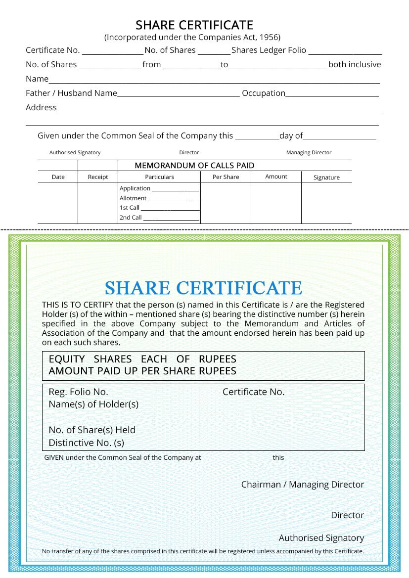 Share Certificate - Indiafilings within Share Certificate Template Companies House