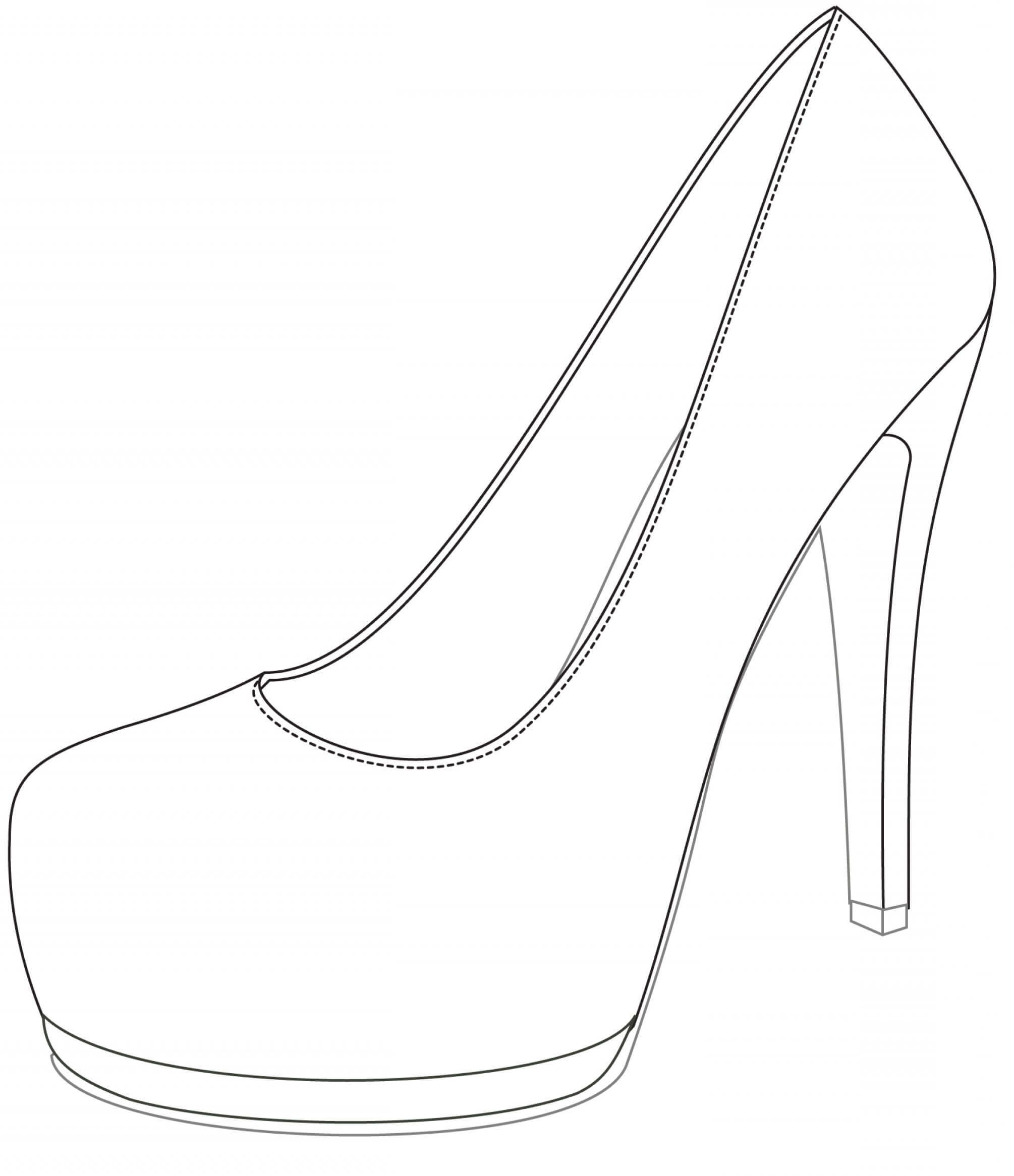 Shoe Drawing Template | Free Download Best Shoe Drawing within High Heel Shoe Template For Card