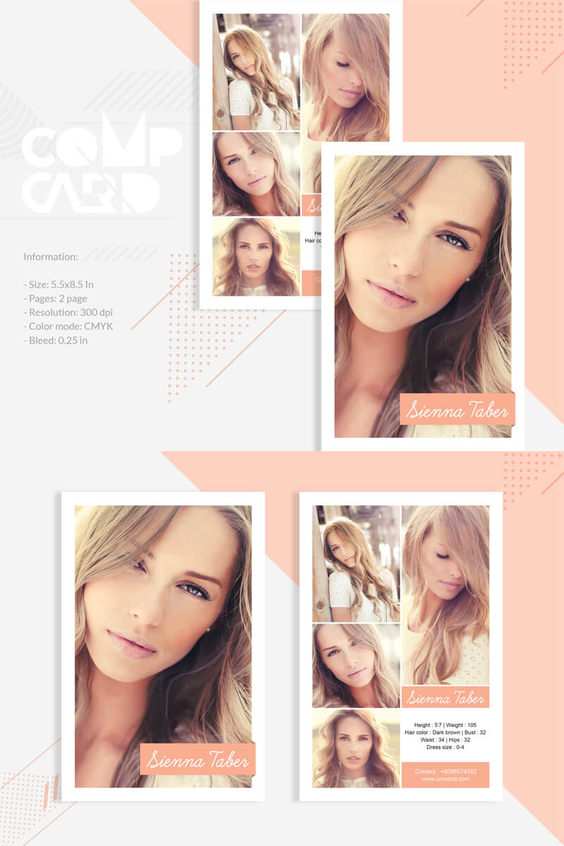 Sienna Taber - Modeling Comp Card Corporate Identity Template within Comp Card Template Download