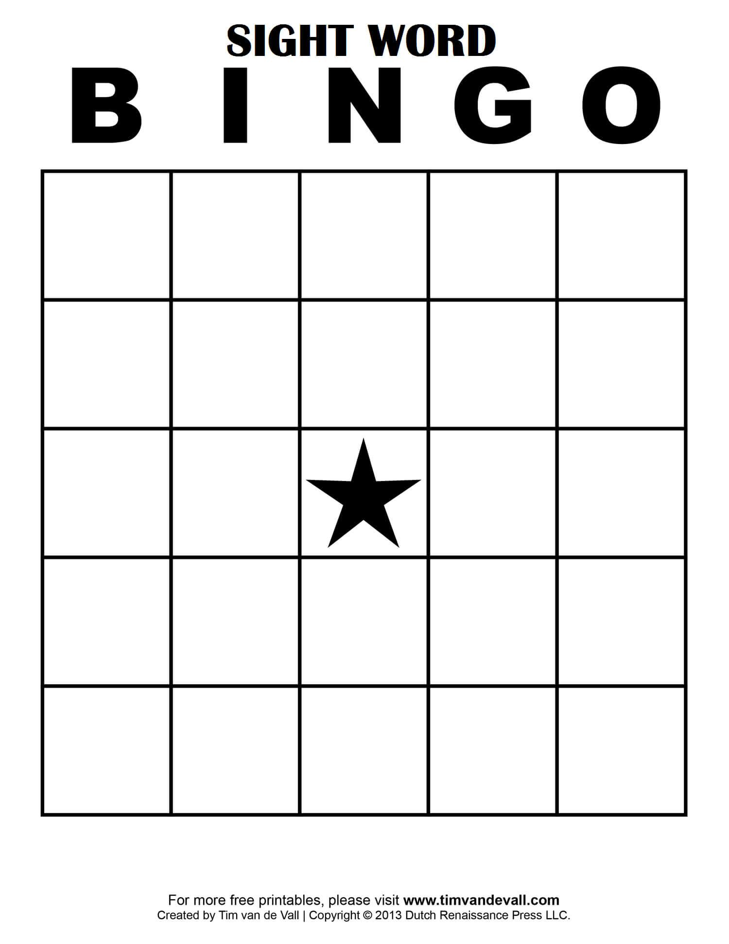 Sight Word Bingo … | Free Bingo Cards, Bingo Card Template inside Blank Bingo Card Template Microsoft Word