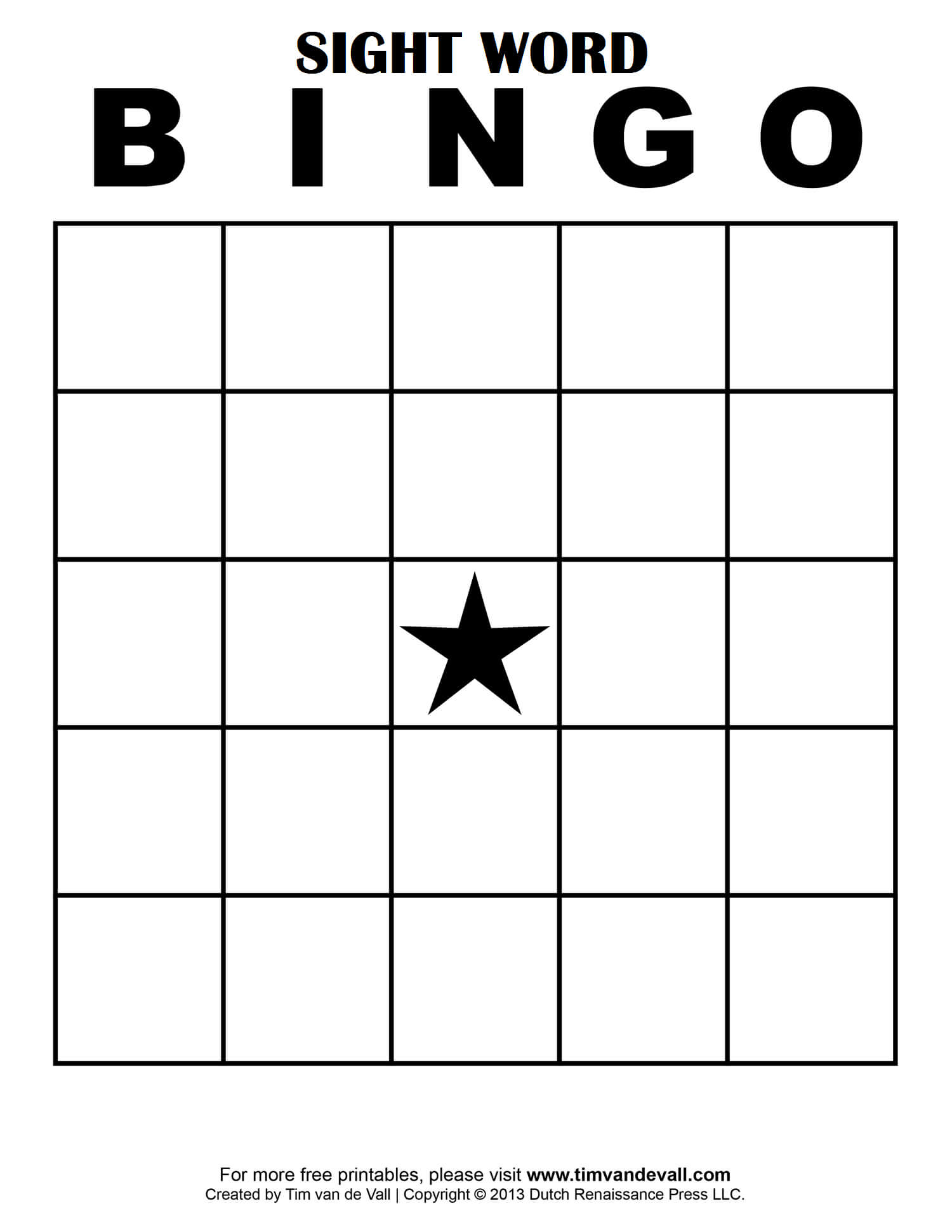 Sight Word Bingo … | Free Bingo Cards, Bingo Card Template Within Bingo Card Template Word