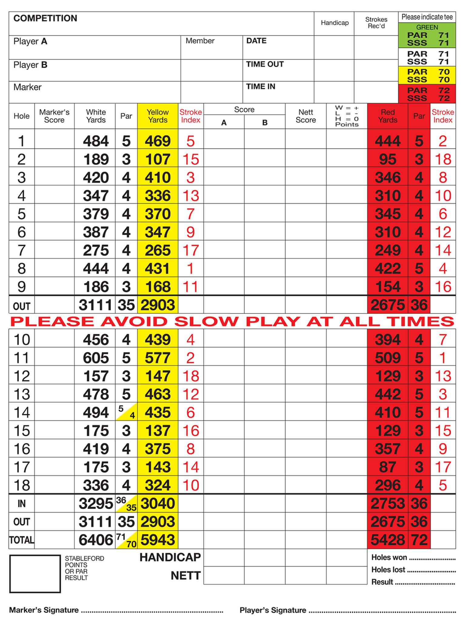 Silvermere Golf Club Score Card intended for Golf Score Cards Template