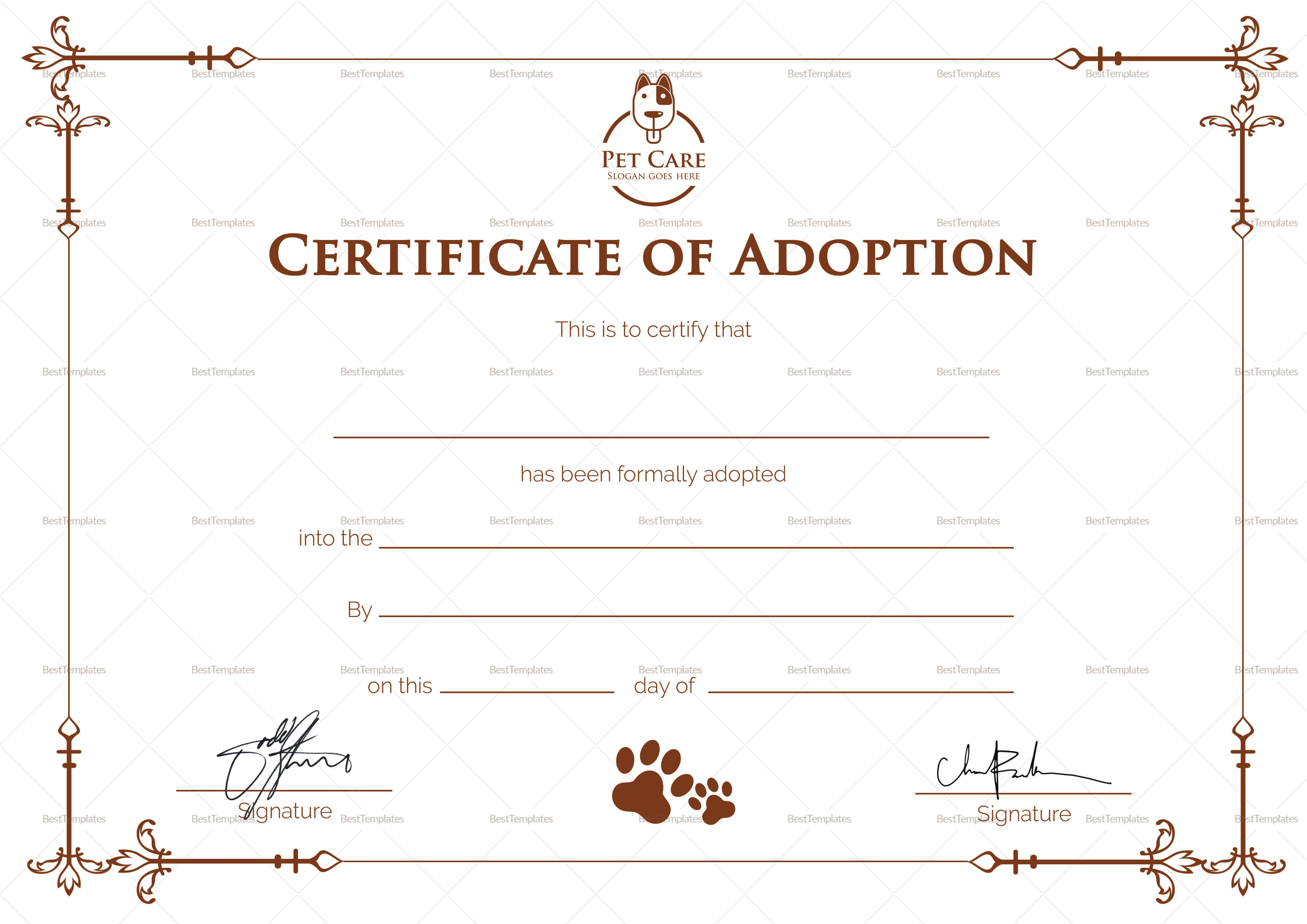 Simple Adoption Certificate Template regarding Blank Adoption Certificate Template