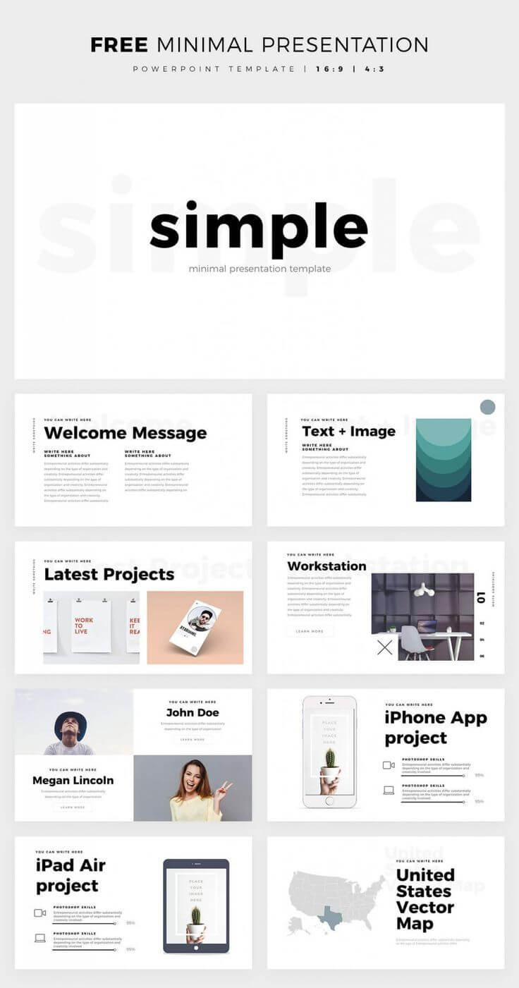 Simple And Clean Powerpoint Template - Free Ppt Theme inside Powerpoint Slides Design Templates For Free