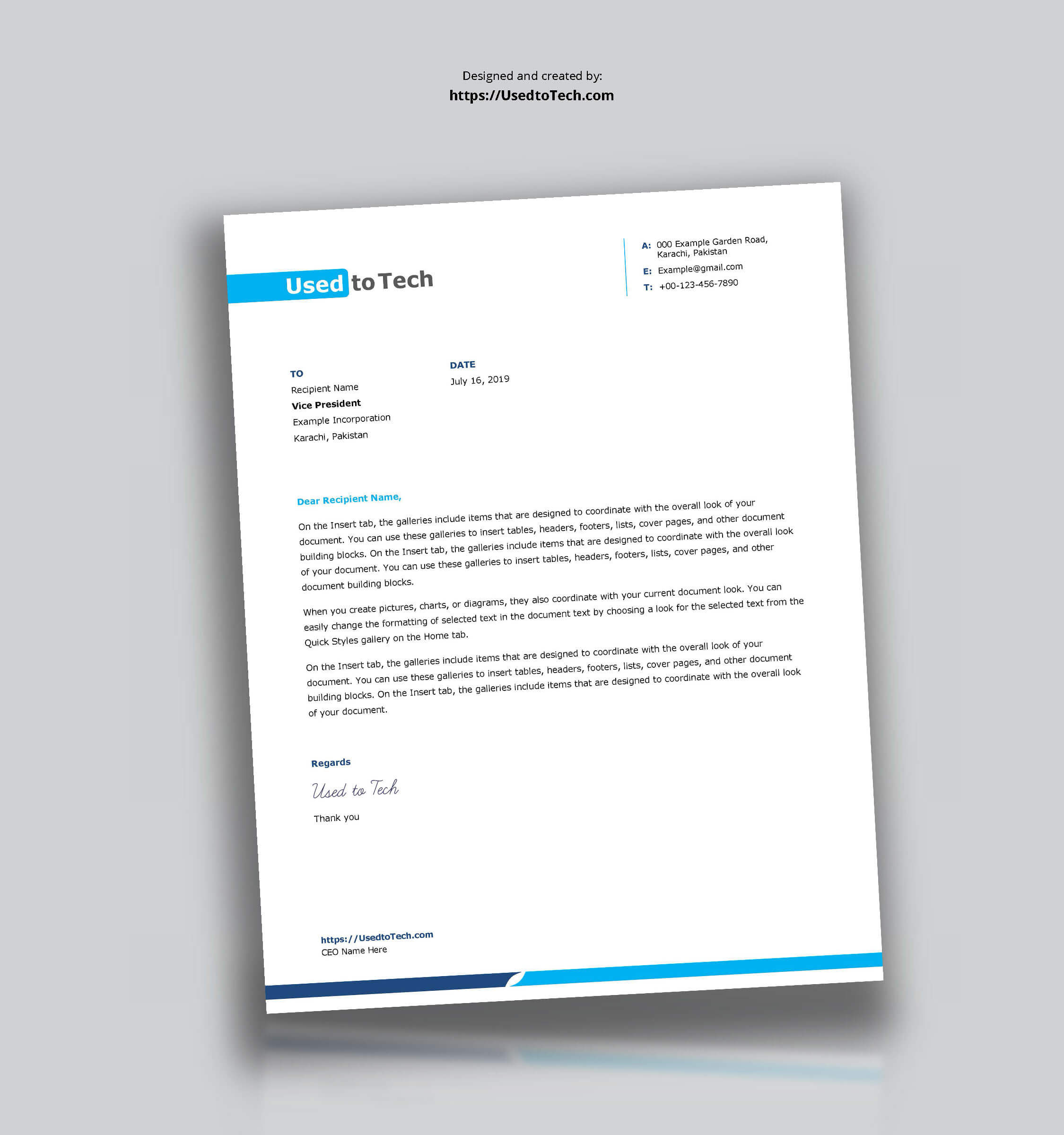 Simple And Clean Word Letterhead Template - Free - Used To Tech Regarding Word Stationery Template Free