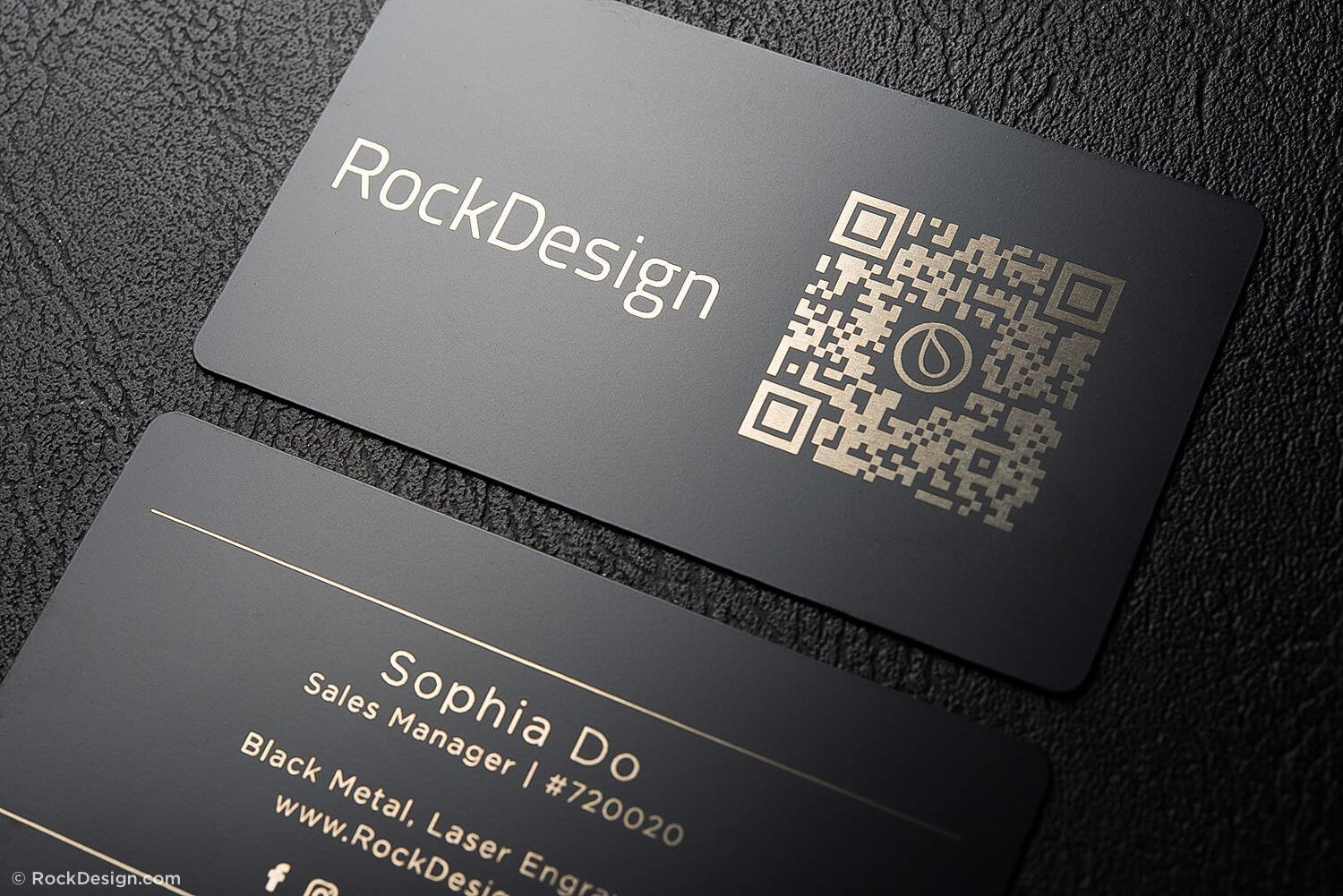Simple Black Metal Business Cards - Sophia Do with Qr Code Business Card Template