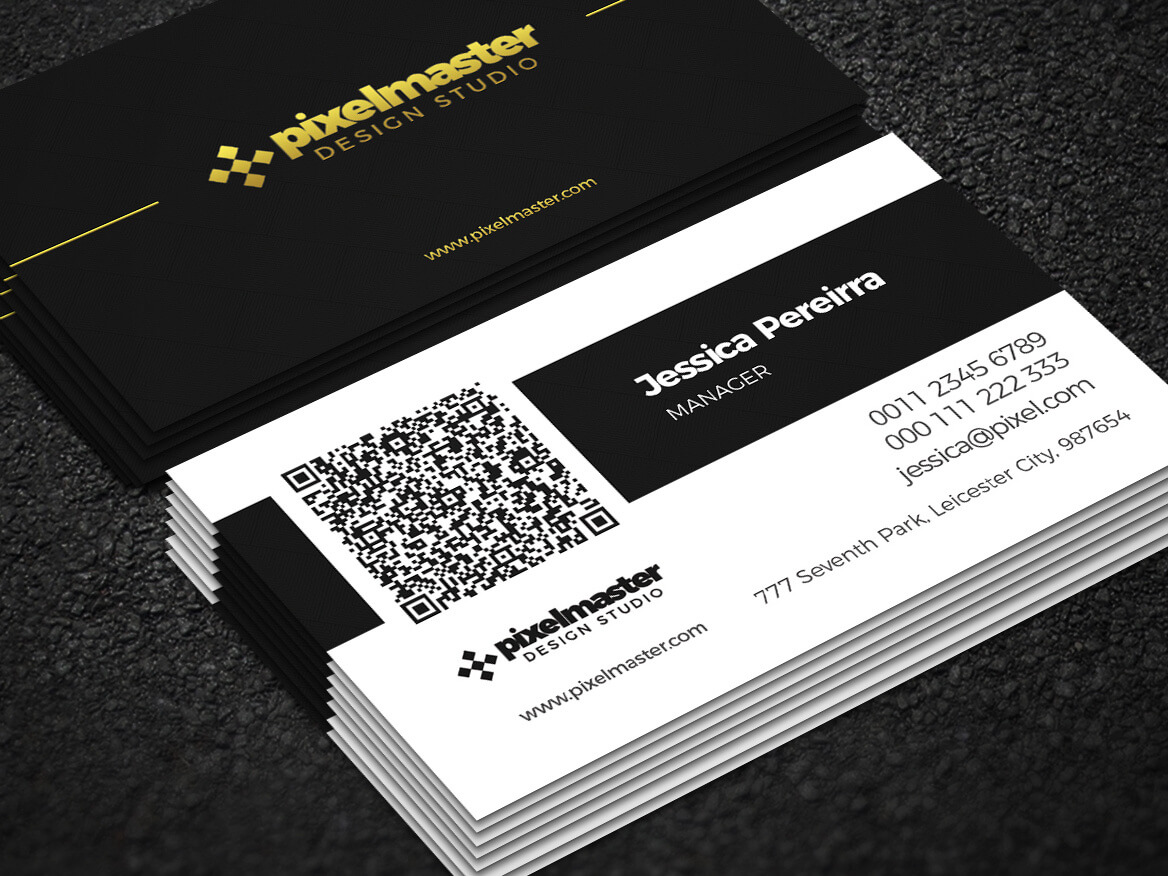 Simple Business Card With Qr Codenisa Toon On Dribbble With Qr Code Business Card Template