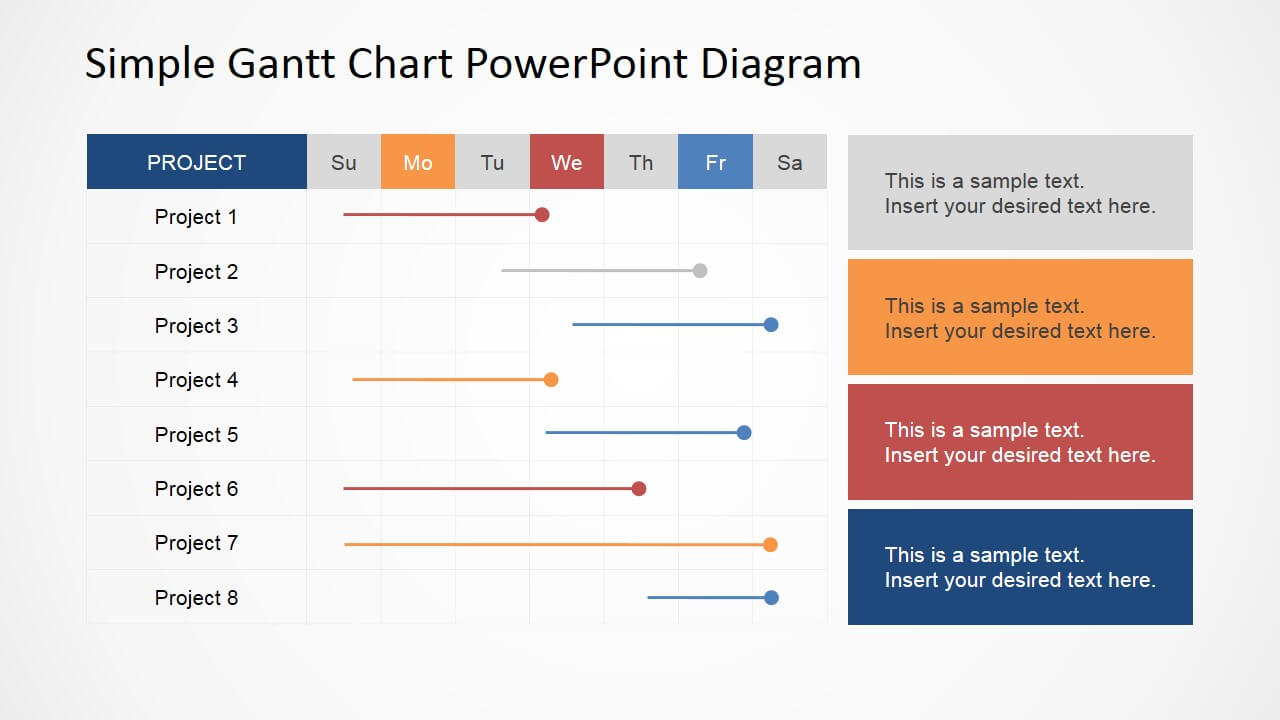 Simple Gantt Chart Powerpoint Diagram in Project Schedule Template Powerpoint