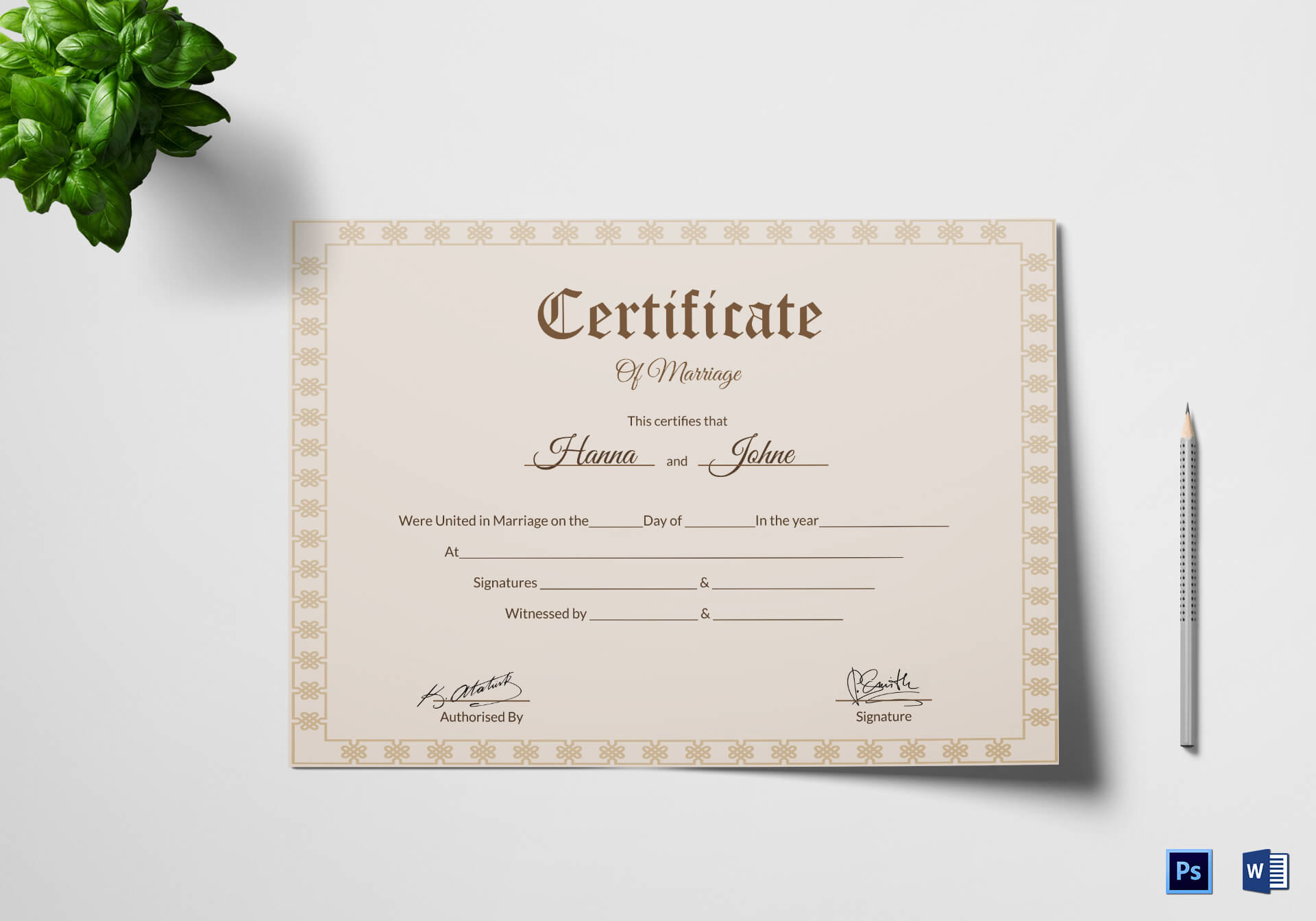 Simple Marriage Certificate Template with regard to Certificate Of Marriage Template