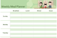 Simple Meal Planner in Menu Planning Template Word