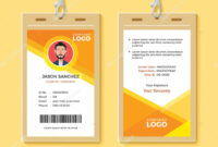 Simple Orange Graphic Id Card Design Template — Stock Vector within Company Id Card Design Template