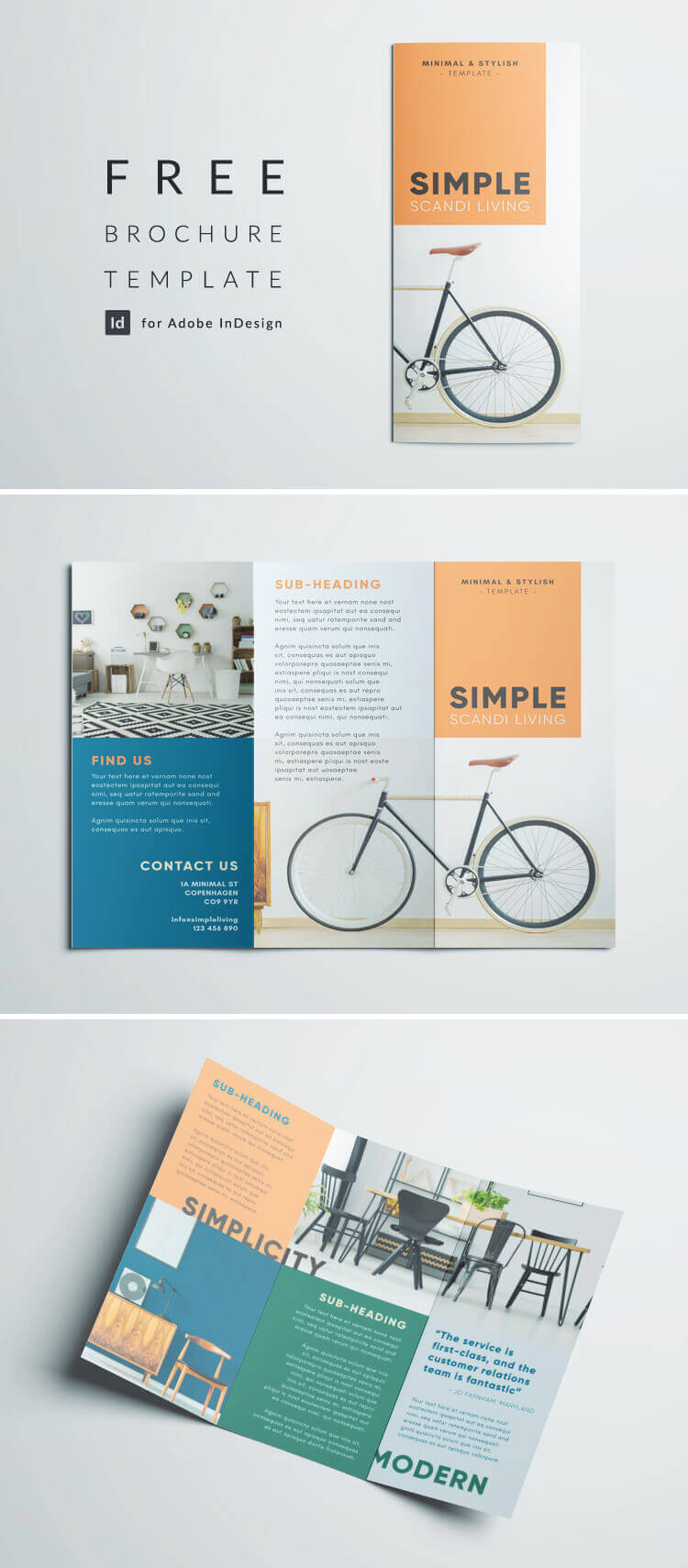 Simple Tri Fold Brochure   Free Indesign Template regarding One Page Brochure Template