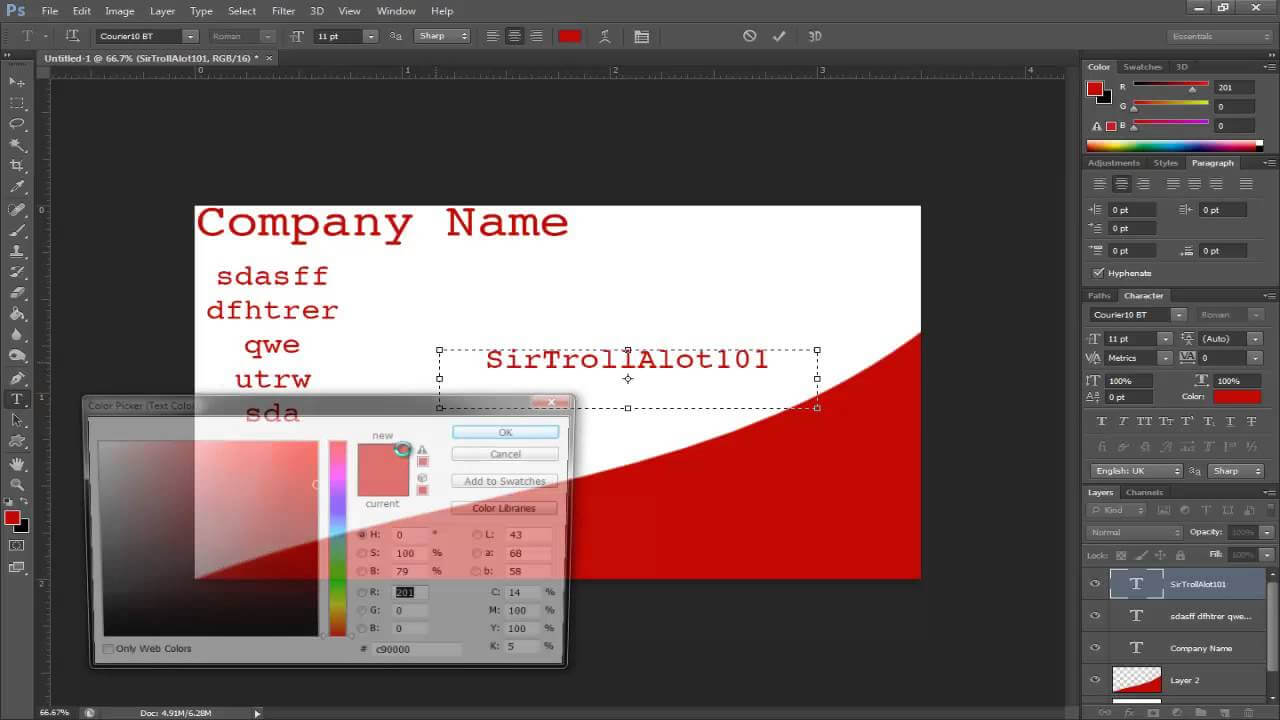 Simple Tutorials - Photoshop Cs6 - Making A Buisness Card with regard to Photoshop Cs6 Business Card Template