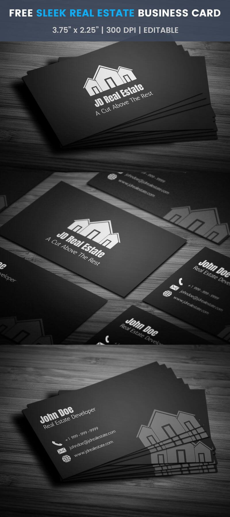 Sleek Real Estate Business Card - Full Preview | Free with Real Estate Business Cards Templates Free