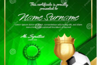 Soccer Certificate Diploma With Golden Cup Vector. Football In Soccer Certificate Template Free