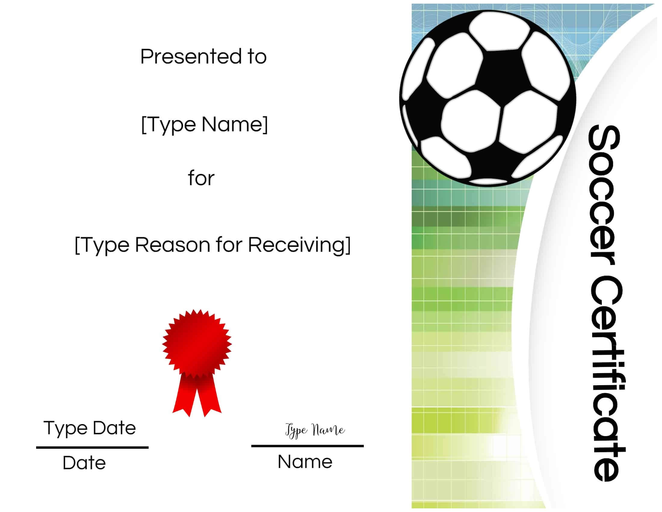 Soccer Certificate Template Free - Atlantaauctionco with Soccer Certificate Template Free
