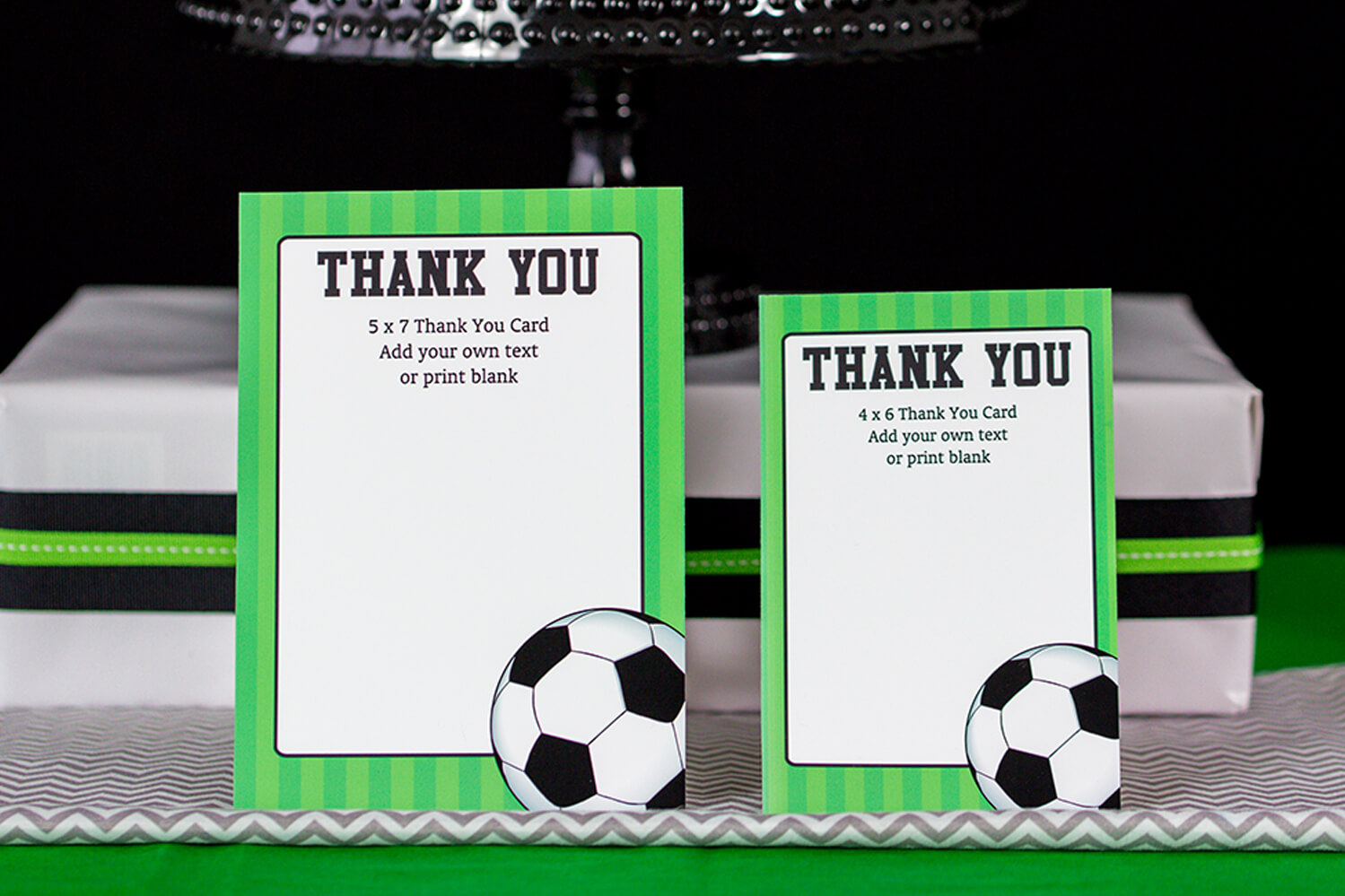 Soccer Party Decorations And Invitation Set - Printable Studio with regard to Soccer Thank You Card Template