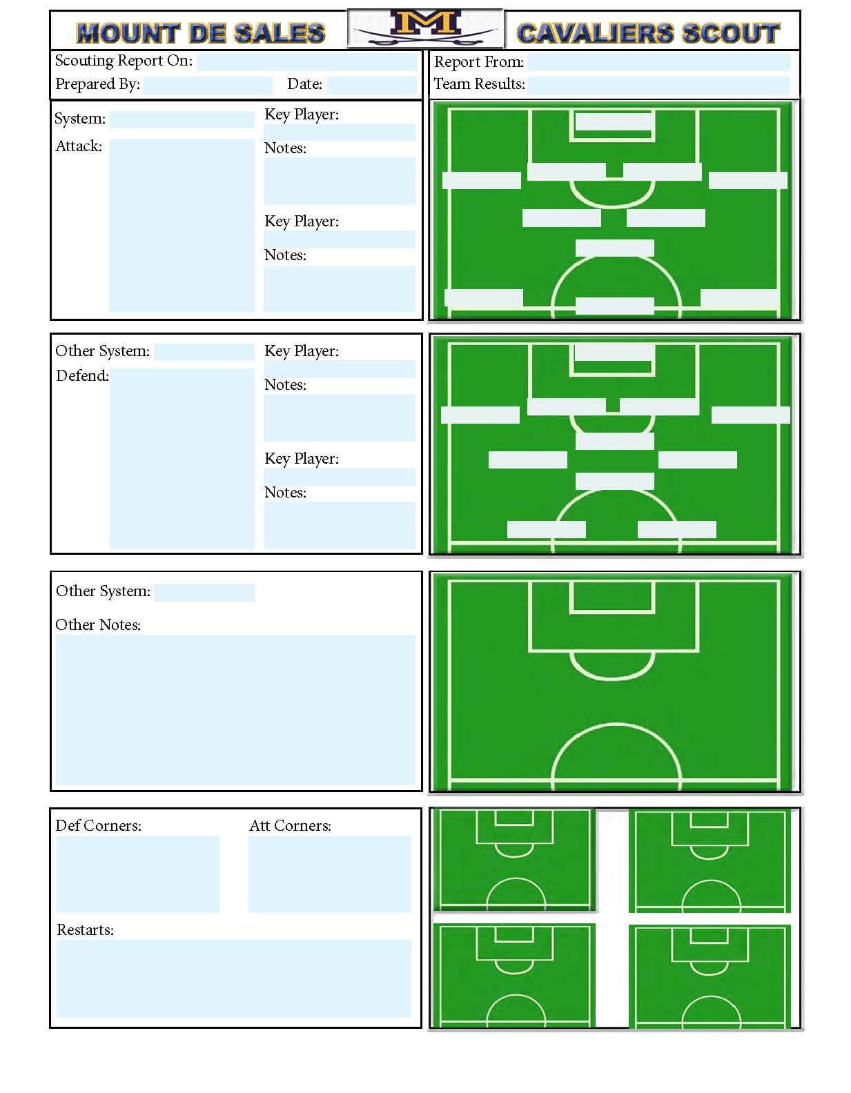 Soccer Scouting Template | Other Designs | Football Coaching Within Football Scouting Report Template