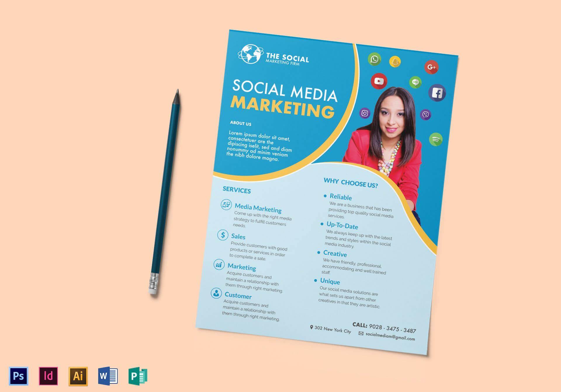 Social Media Marketing Flyer Template Pertaining To Social Media Brochure Template