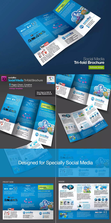 Social Media Tri Fold Brochure Template Indd | Bi Fold Pertaining To Social Media Brochure Template