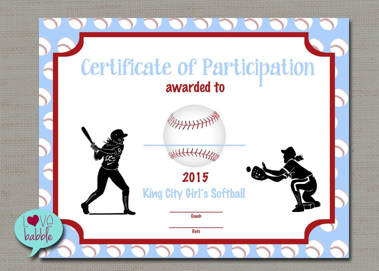 Softball Certificate Templates - Atlantaauctionco Throughout Free Softball Certificate Templates