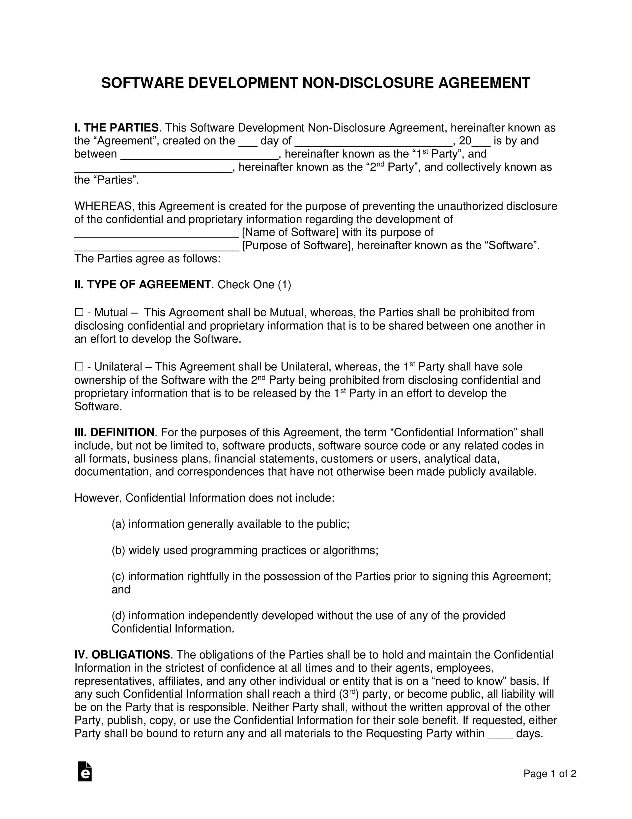 Software Development Non-Disclosure Agreement (Nda) Template intended for Nda Template Word Document