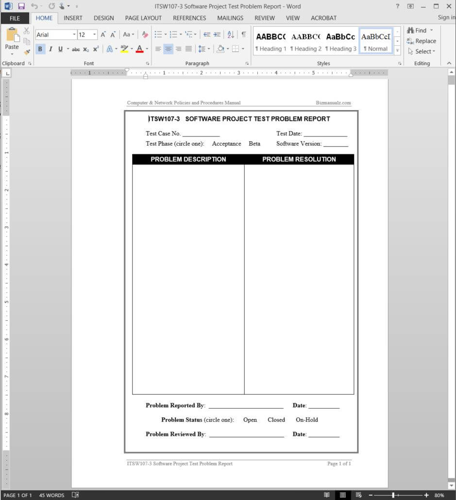 Software Project Test Problem Report Template | Itsw107 3 For Test Result Report Template
