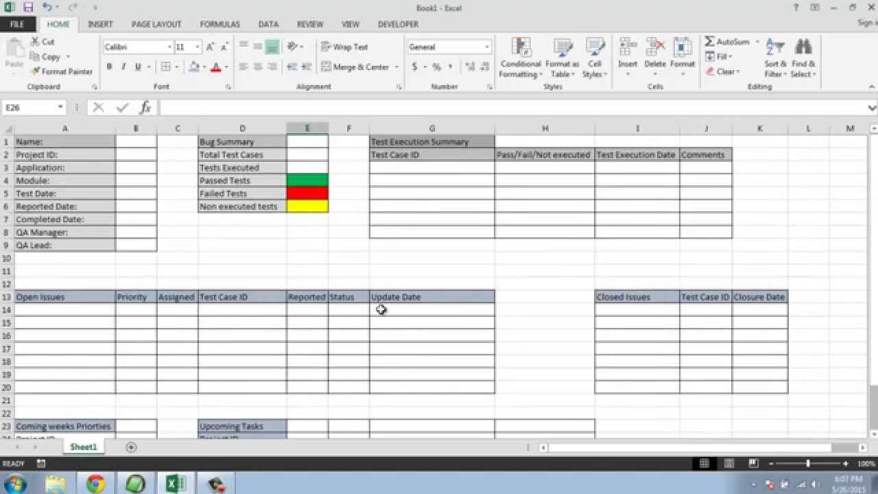 Software Testing Weekly Status Report Template for Weekly Status Report Template Excel