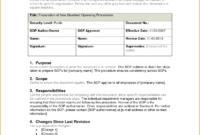 Sop Template Word Doc | Resume Senior Manager for Procedure Manual Template Word Free