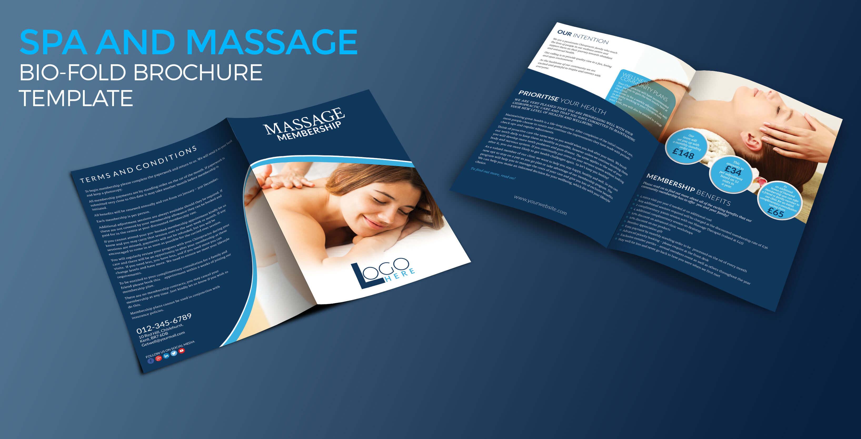 Spa And Massage Bio-Fold Brochure Template - Graphic Reserve inside Membership Brochure Template