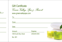 Spa Gift Certificate regarding Spa Day Gift Certificate Template