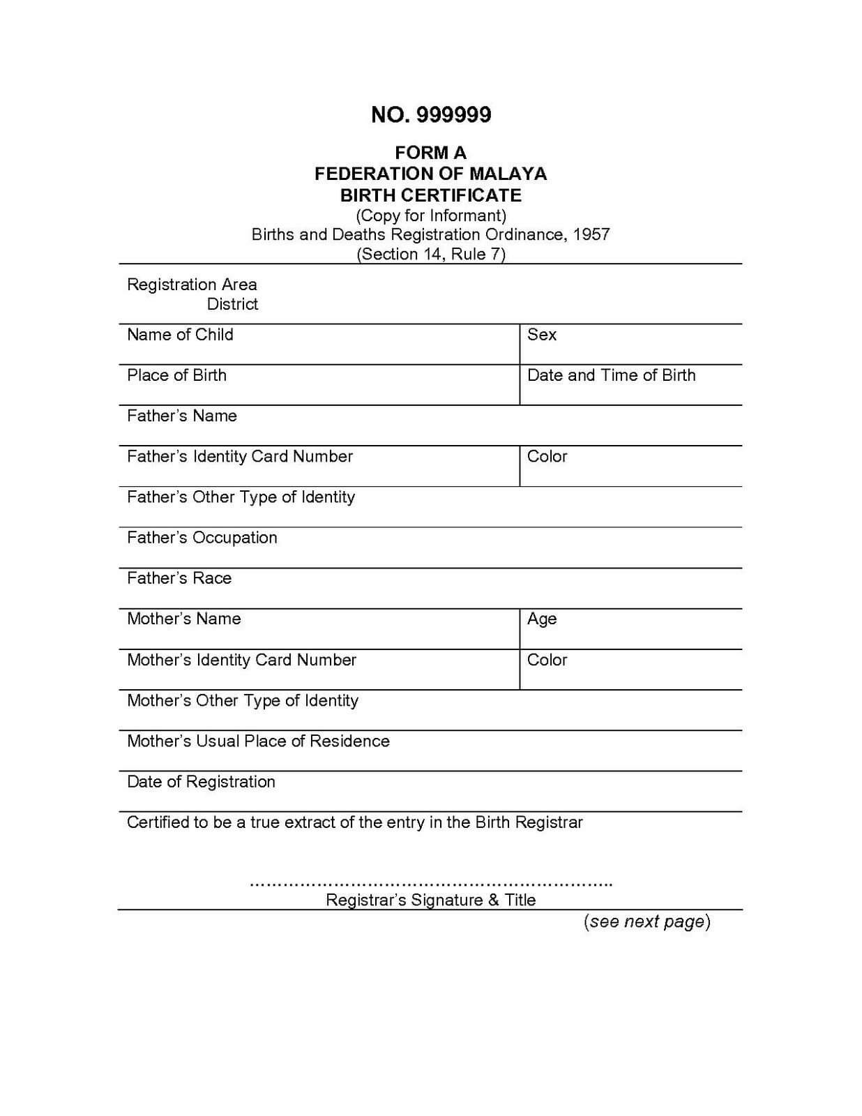 Spanish To English Birth Certificate Translation Template For Birth Certificate Translation Template English To Spanish