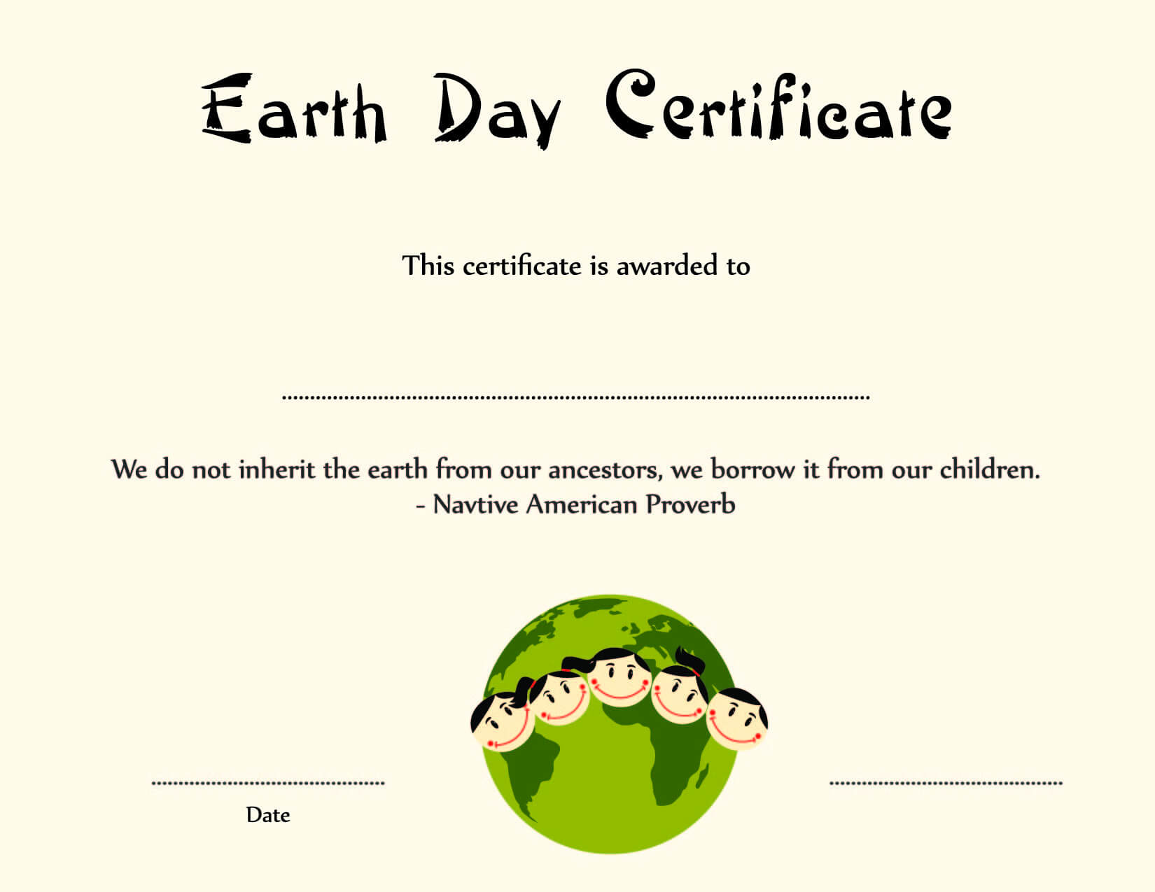 Special Certificates - Kids Earth Day Certificate Template pertaining to Player Of The Day Certificate Template