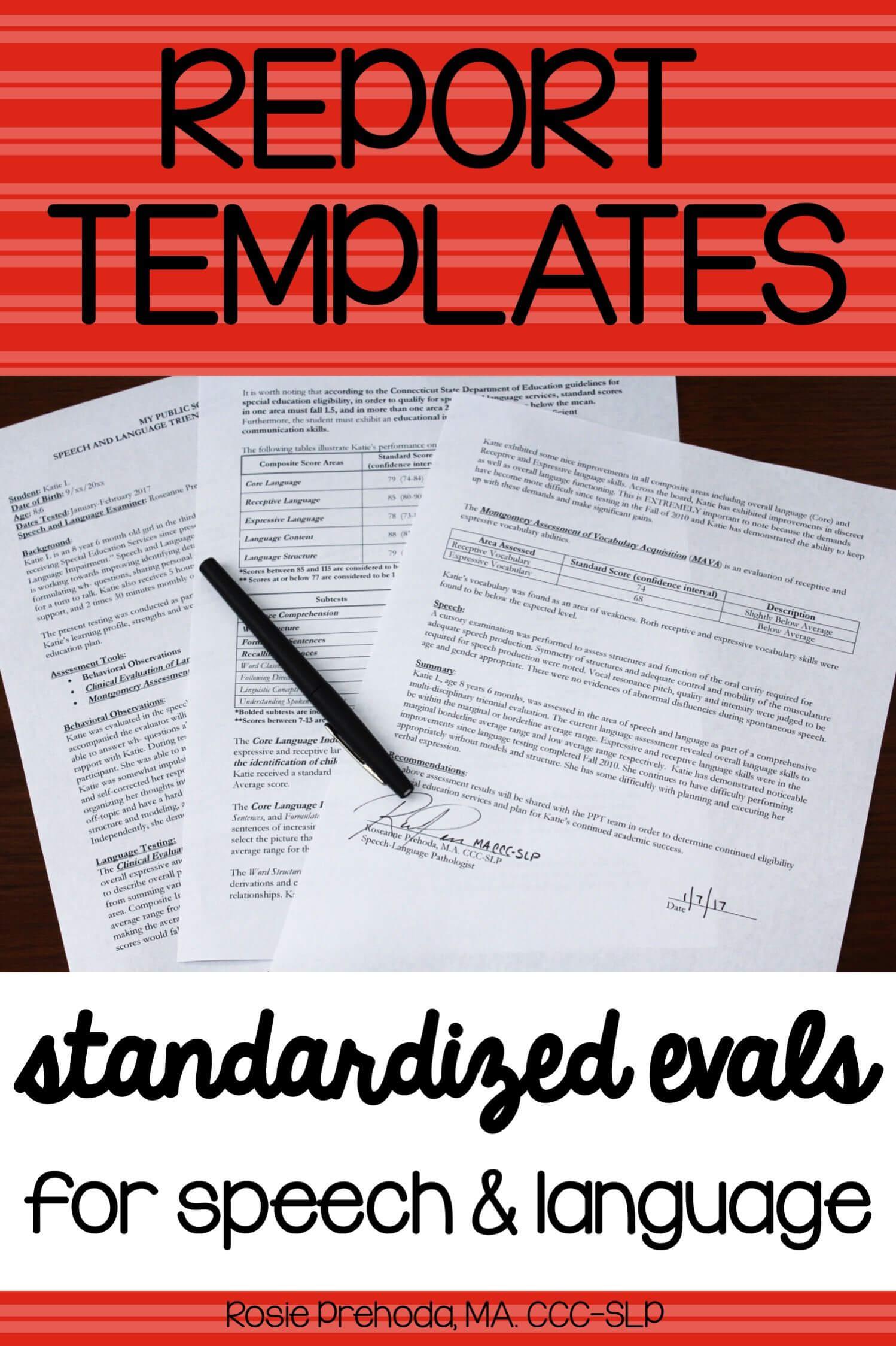 Speech & Language Standardized Evaluation Report Template with Speech And Language Report Template