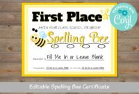 Spelling Bee Award Certificate, For School, For Classroom, For District regarding Spelling Bee Award Certificate Template